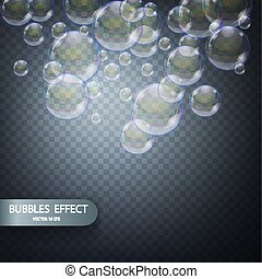 Water bubbles isolated on a transparent checkered background. Vector realistic effect template. Iridescent soap bubbles