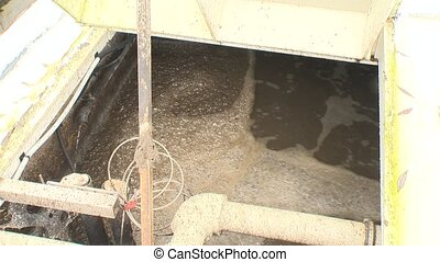 Water bubbling in aeration tanks with activated sludge for...