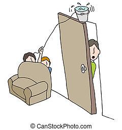 Water Bucket Practical Joke - An image of a water bucket...