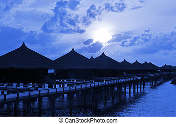 Water bungalows at night