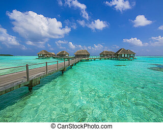 water, bungalows, in, paradijs
