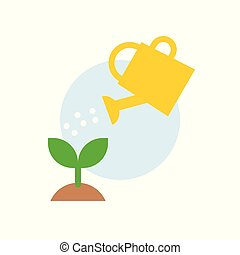 Water can watering plant icon, flat design