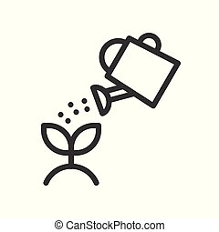 Water can watering plant icon, vector illustration