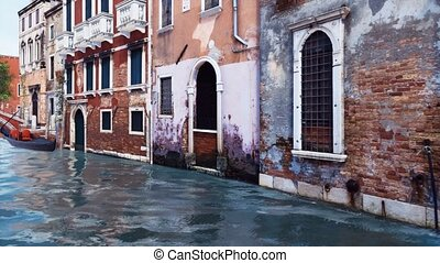 Water canal and ancient buildings in Venice, Italy - Ancient...