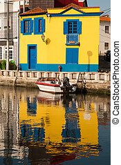 Water canal dock in Aveiro, Portugal