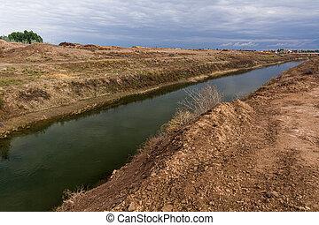 Water canal in Kyzylkum desert, Uzbekist