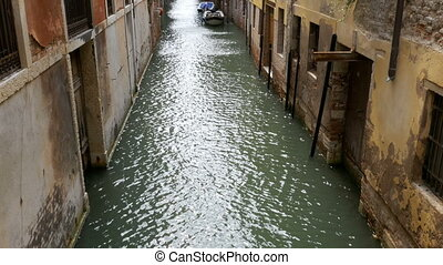 Water Canal of Venice, Italy. Narrow Streets of Venice. -...