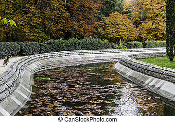 Water channel in the park in autumn