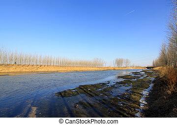 water channel scenery in winter
