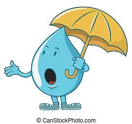 Water character waiting rain