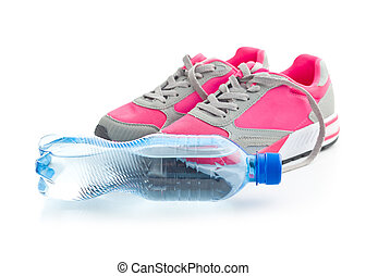 water., chaussures, bouteille, sports