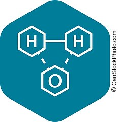 Water chemistry formula icon, outline style