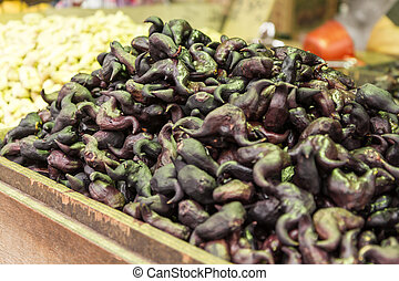 Water chestnuts at a street market