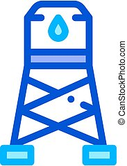 Water Cistern Tower Vector Sign Thin Line Icon