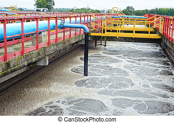 Water cleaning facility outdoors - Water treatment facility...