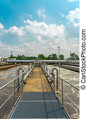 Water cleaning facility outdoors
