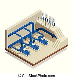 Water Cleaning System Isometric Composition - Water...