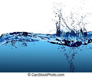 Water - Sparks of blue water on a white background