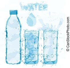 water-color, bouteille eau, taches, verre