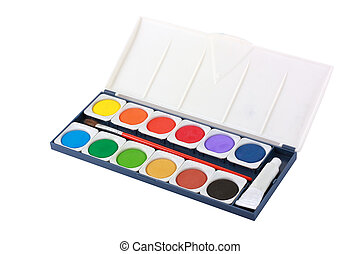 Water color box with brush isolated