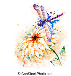 Vector greeting background with beautiful watercolor flying violet dragonfly and lily flower