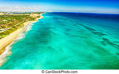 Water color of Palm Beach, aerial view of Florida