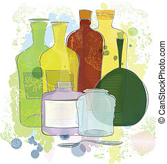 Water color yellow red green bottles