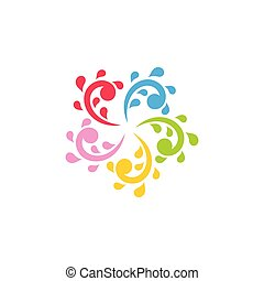 water colorful splash circle design vector