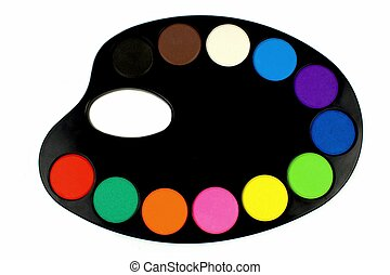 Water colors and black palette