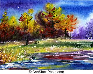 Water colour landscape - Autumn water colour landscape wood...