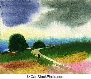 Water colour landscape - Rural water colour landscape