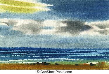 Water colour landscape - Sea water colour landscape