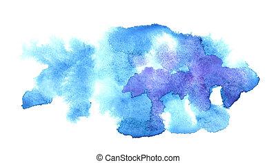 water-colour, vlekken, blauwe
