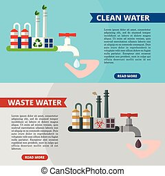 water concept banners clean waste