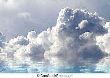 water, concept., een, hemel, van, wolken, weerspiegelde in, een, kalm, sea.