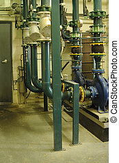 Pumps and pipes of an industrial water conditioner