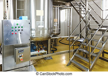 Water conditioning or distillation room with control panel...