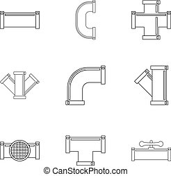Water conduit icon set, outline style