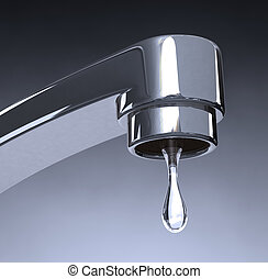 Water Conservation - A macro zoom on a faucet driping water...