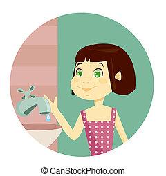 Water conservation illustration for kids, illustration