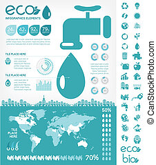 Water Conservation Infographic Template - Flat Infographic...