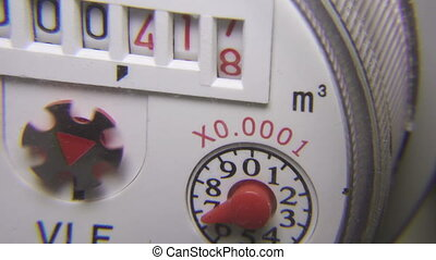 Water consumption metering device, Closeup of counter water consumption,