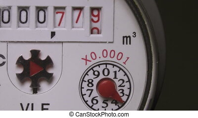 Water consumption metering device,Closeup of counter water...