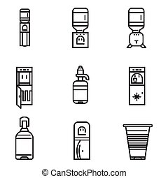 Water cooler flat line vector icons