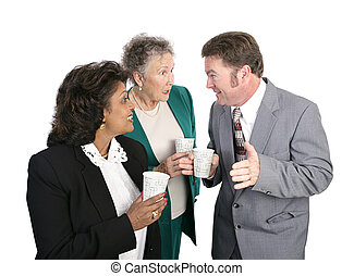 Water Cooler Gossip - Business employees gathered to get a...