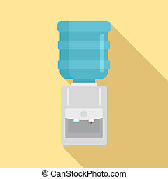Water cooler icon, flat style