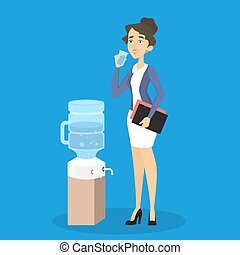 Water cooler in office.