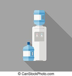 Water cooler with bottle.