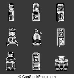 Water coolers white line vector icons