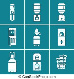 Water coolers white vector icons set.